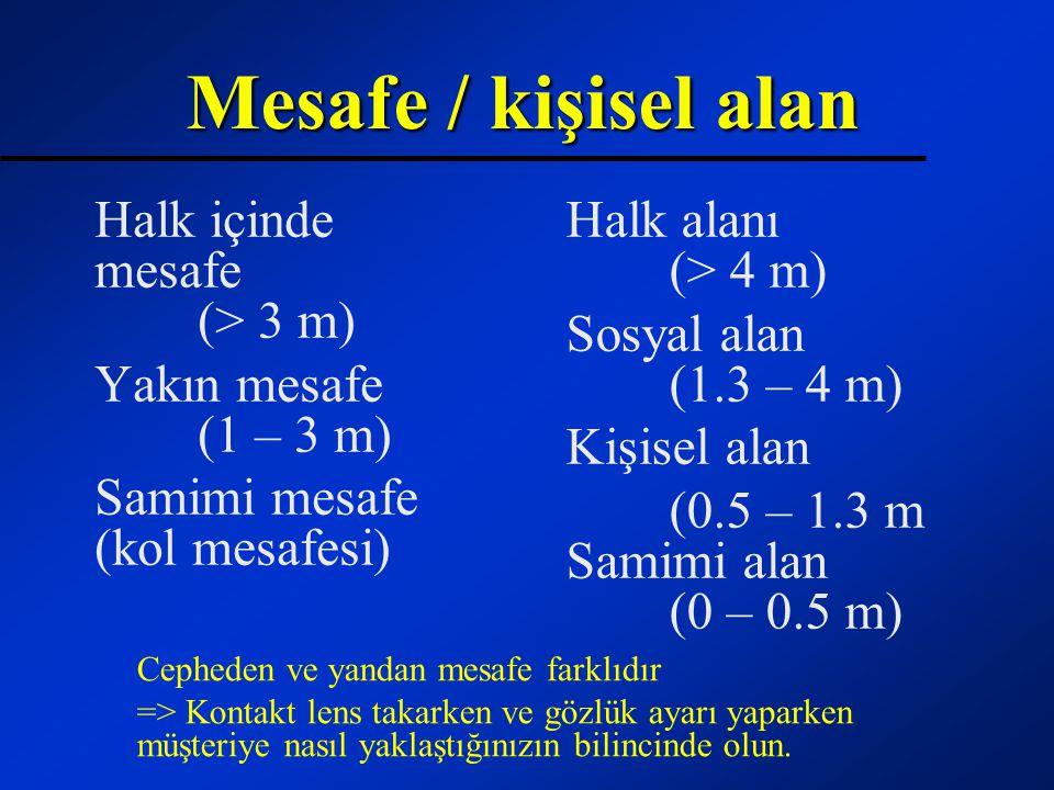 Mesafe / kişisel alan Halk içinde mesafe (> 3 m)