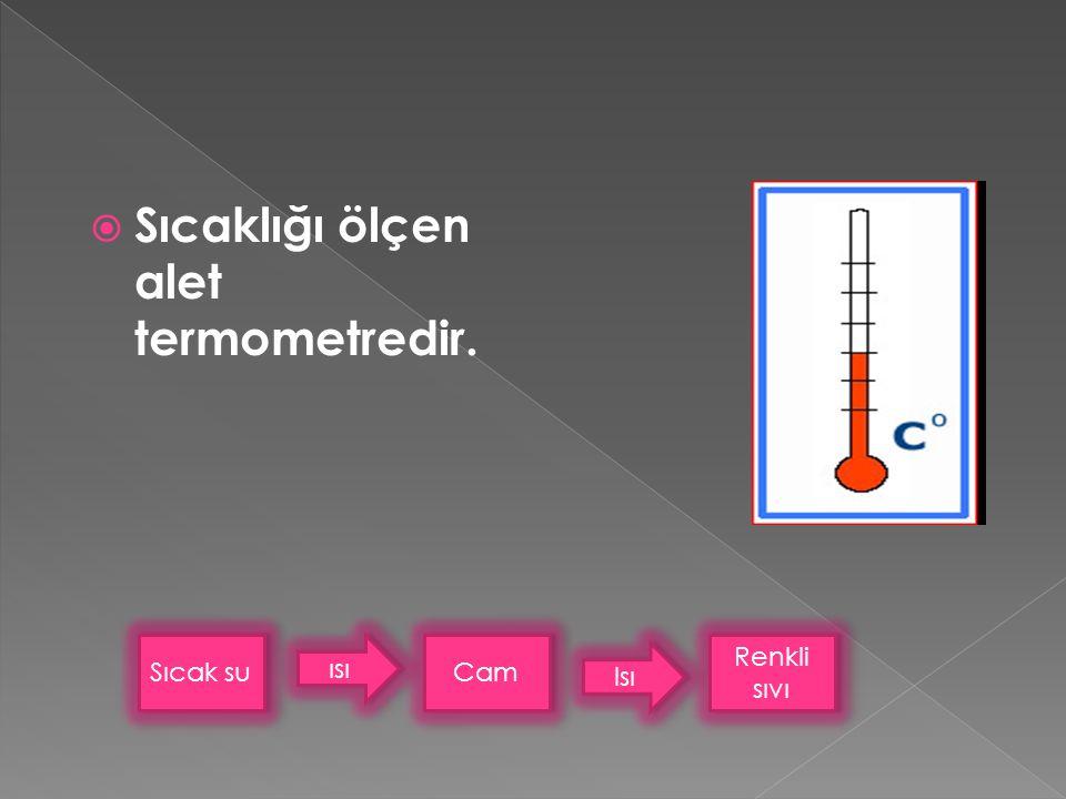 Sıcaklığı ölçen alet termometredir.