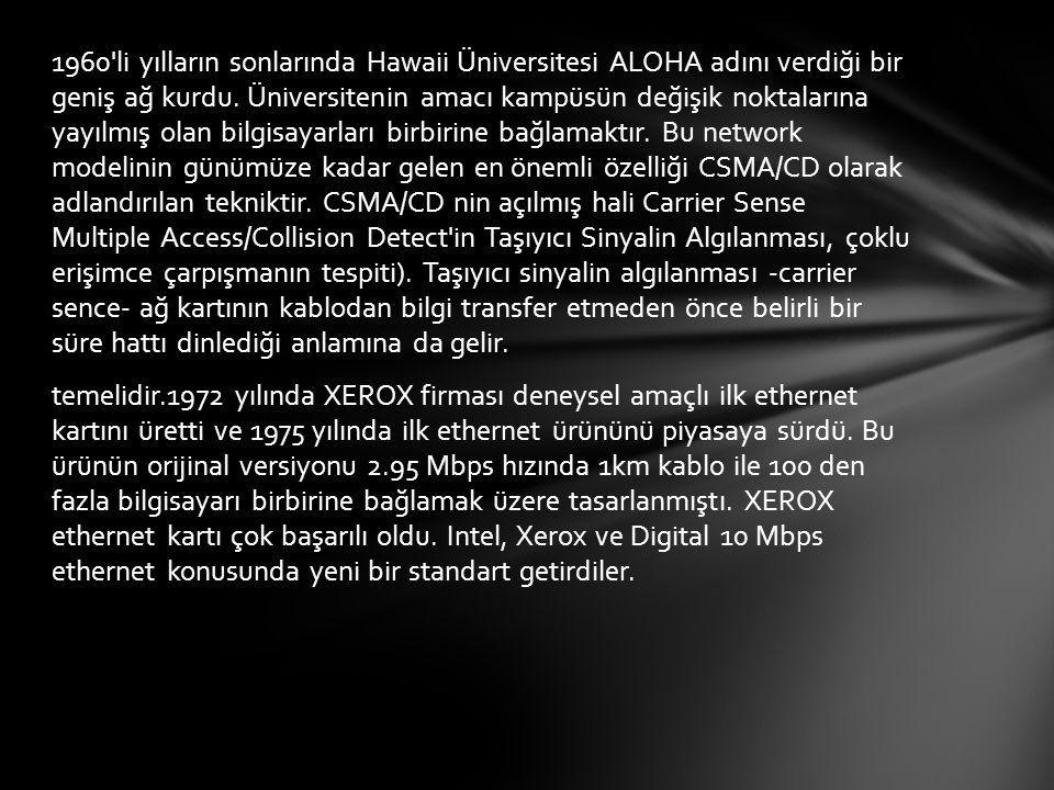 1960 li yılların sonlarında Hawaii Üniversitesi ALOHA adını verdiği bir geniş ağ kurdu.