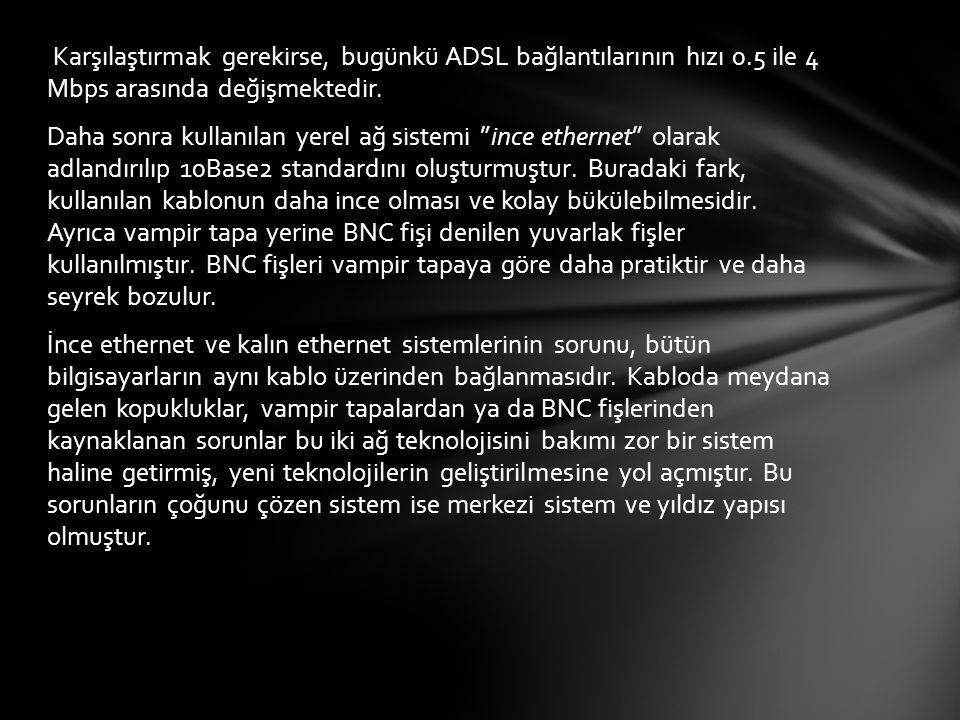 Karşılaştırmak gerekirse, bugünkü ADSL bağlantılarının hızı 0