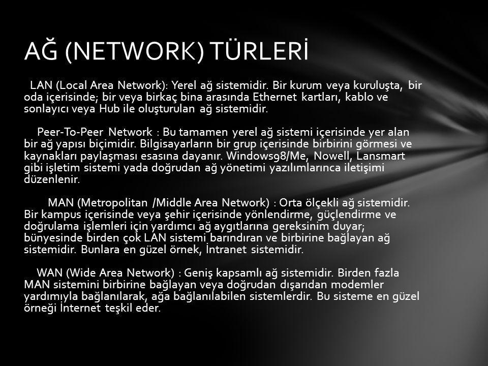 AĞ (NETWORK) TÜRLERİ