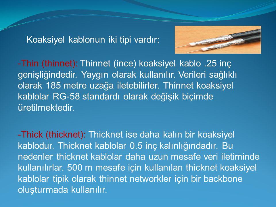 Koaksiyel kablonun iki tipi vardır: