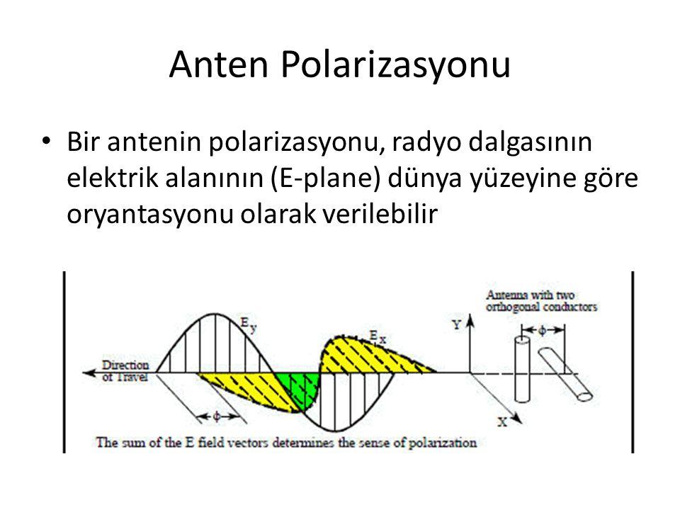 Anten Polarizasyonu Bir antenin polarizasyonu, radyo dalgasının elektrik alanının (E-plane) dünya yüzeyine göre oryantasyonu olarak verilebilir.
