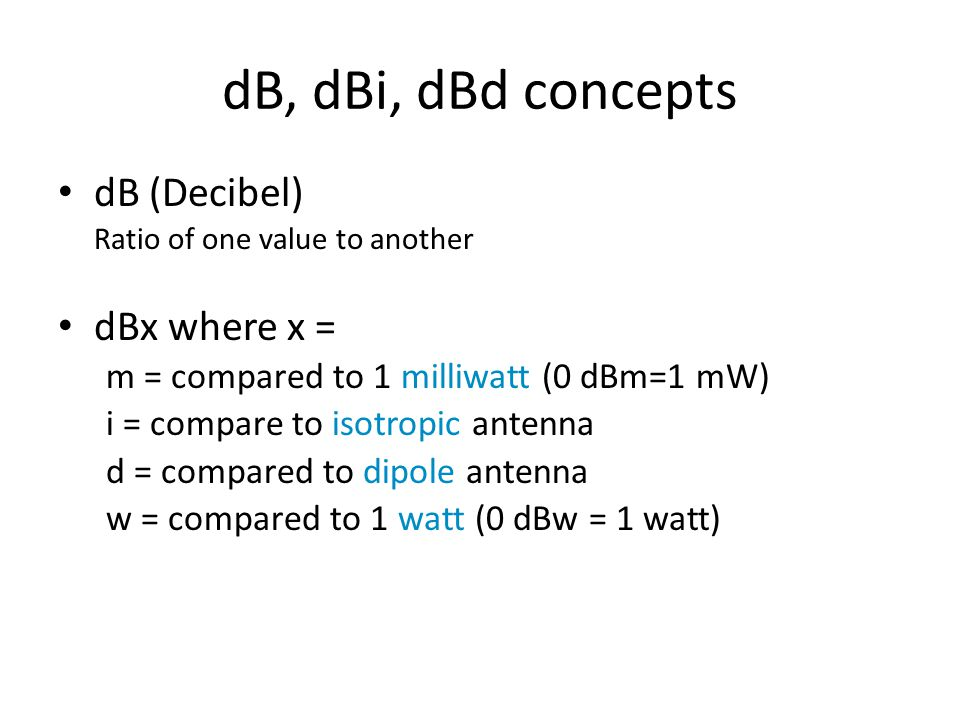 dB, dBi, dBd concepts dB (Decibel) dBx where x =
