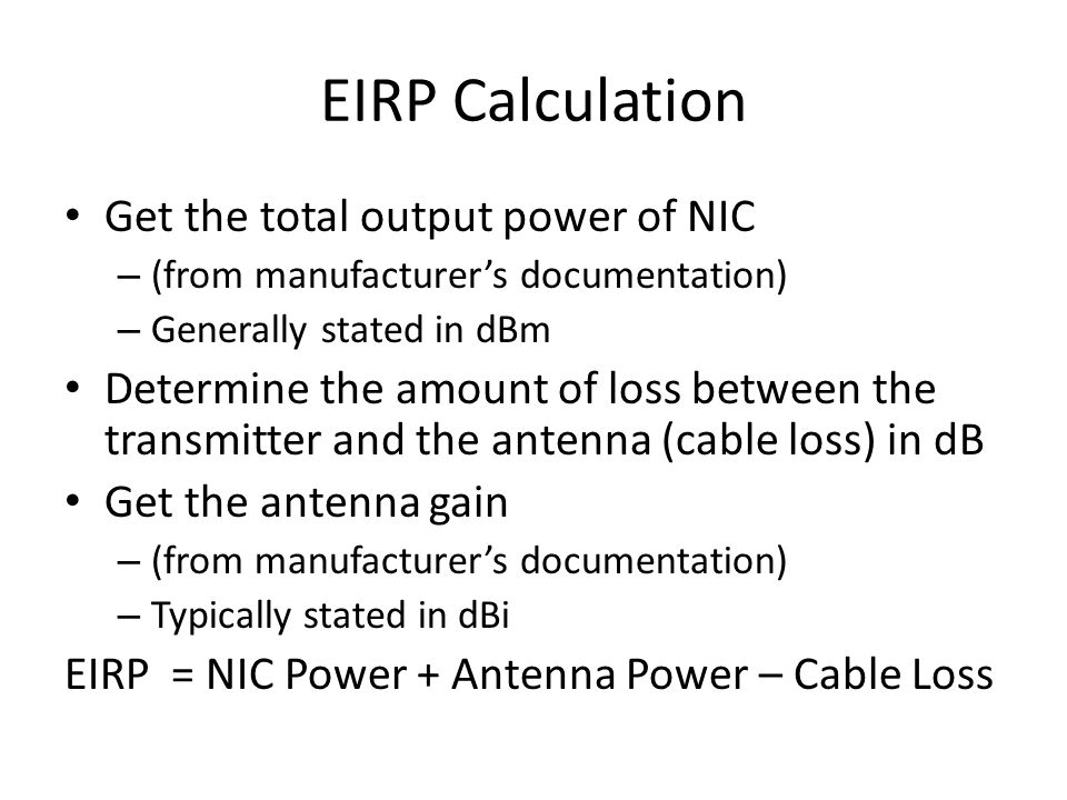 EIRP Calculation Get the total output power of NIC