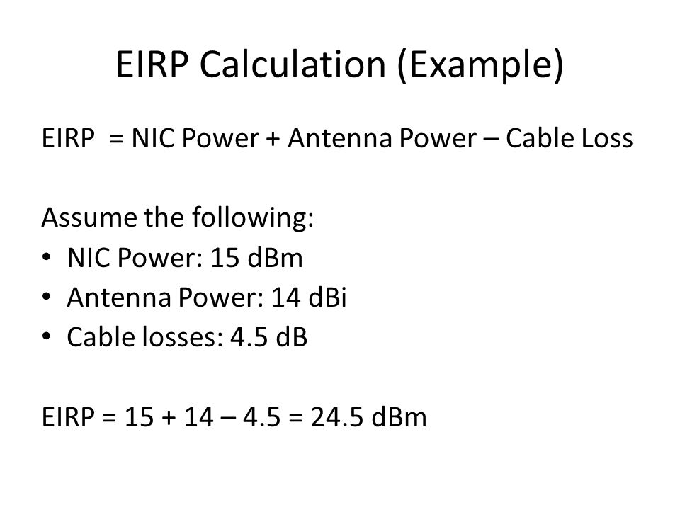EIRP Calculation (Example)