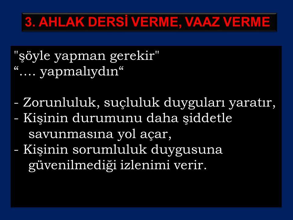 3. AHLAK DERSİ VERME, VAAZ VERME