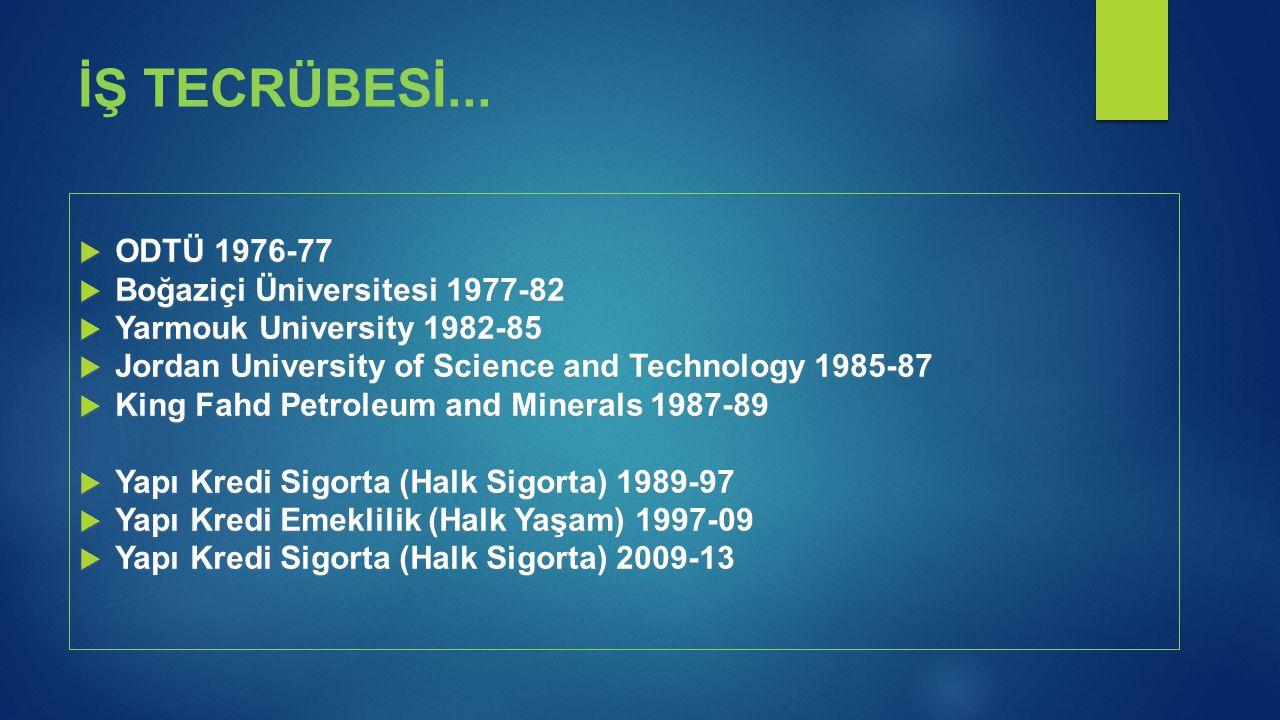 İŞ TECRÜBESİ... ODTÜ 1976-77 Boğaziçi Üniversitesi 1977-82