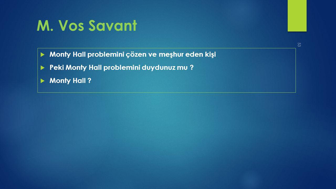 M. Vos Savant Monty Hall problemini çözen ve meşhur eden kişi