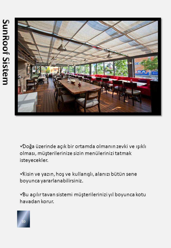 SunRoof Sistem Doğa üzerinde açık bir ortamda olmanın zevki ve ışıklı olması, müşterilerinize sizin menülerinizi tatmak isteyecekler.