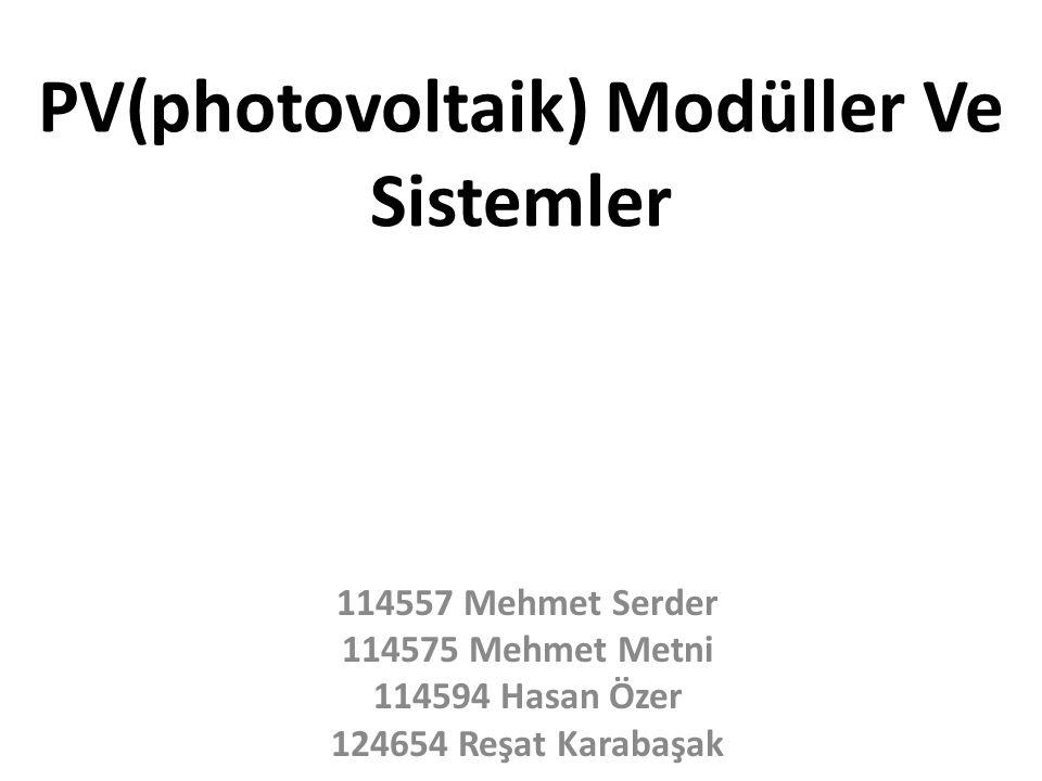 PV(photovoltaik) Modüller Ve Sistemler