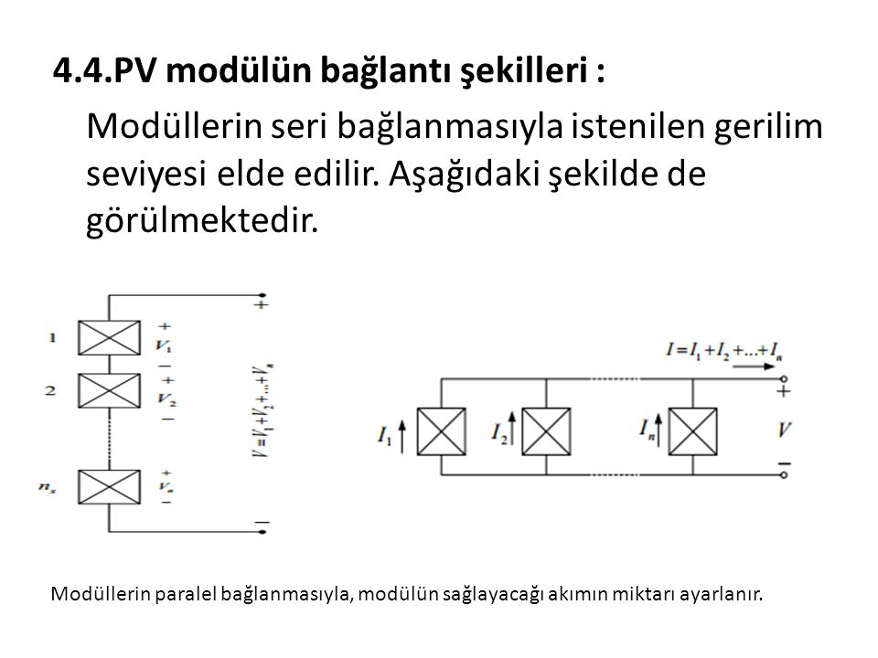4.4.PV modülün bağlantı şekilleri :