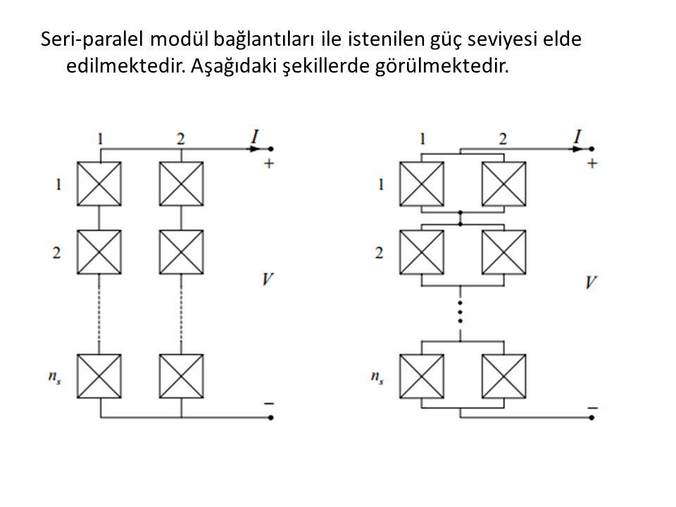 Seri-paralel modül bağlantıları ile istenilen güç seviyesi elde edilmektedir.