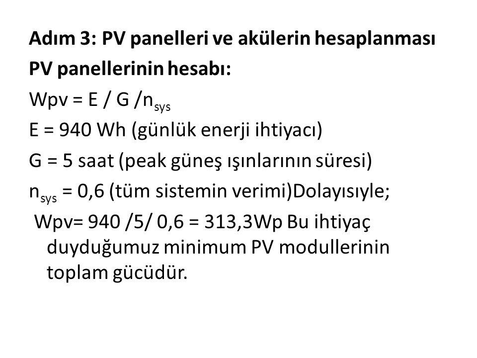 Adım 3: PV panelleri ve akülerin hesaplanması