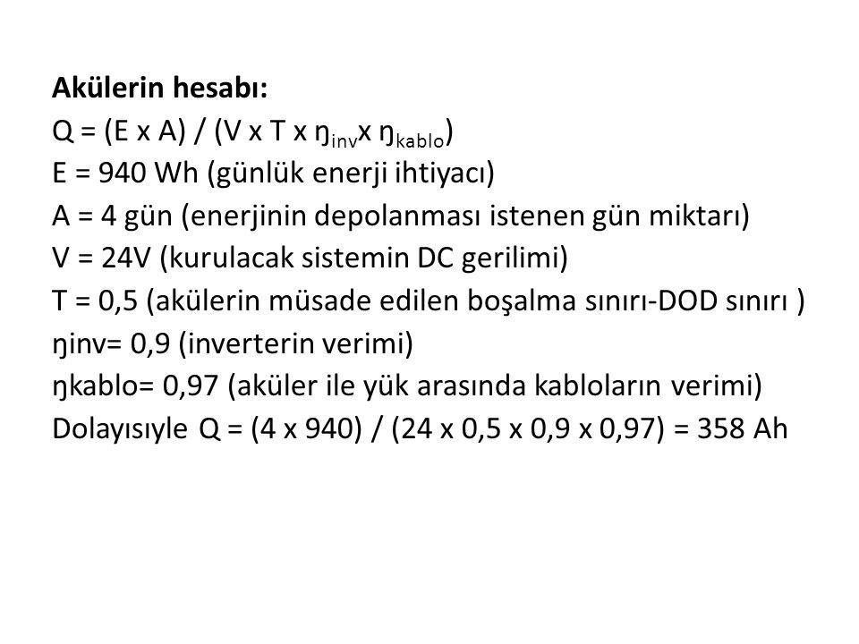 Akülerin hesabı: Q = (E x A) / (V x T x ŋinvx ŋkablo) E = 940 Wh (günlük enerji ihtiyacı) A = 4 gün (enerjinin depolanması istenen gün miktarı)