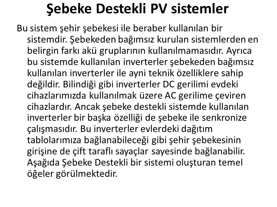 Şebeke Destekli PV sistemler
