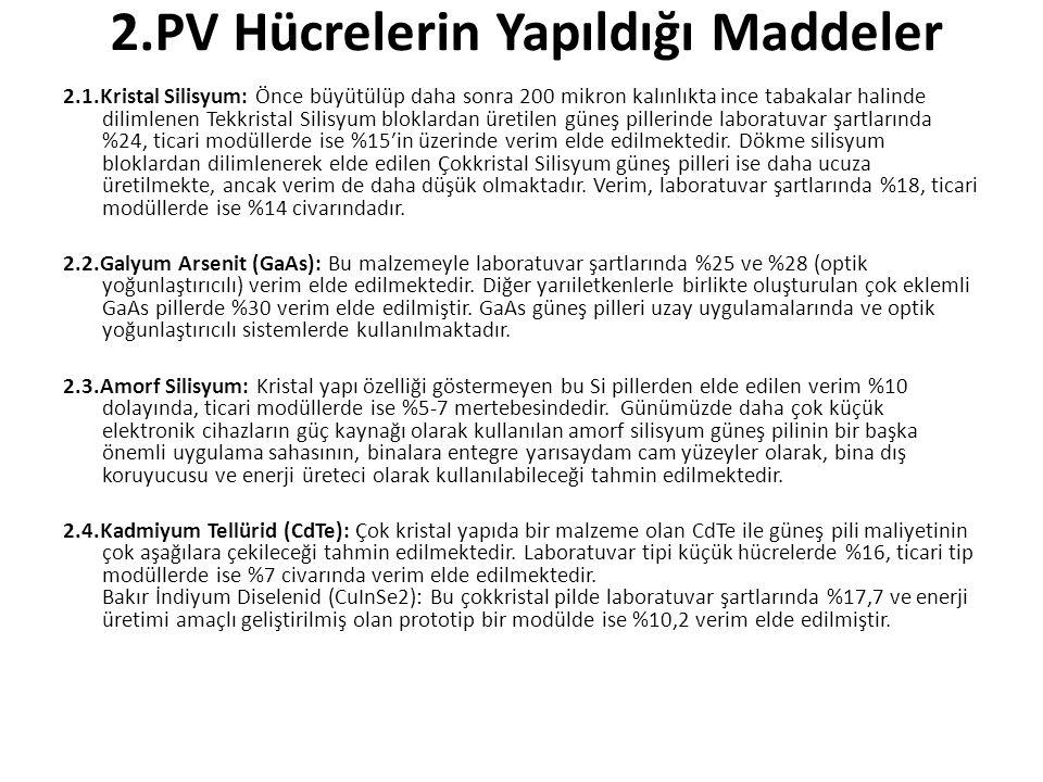 2.PV Hücrelerin Yapıldığı Maddeler