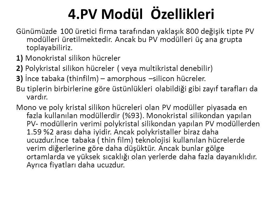 4.PV Modül Özellikleri