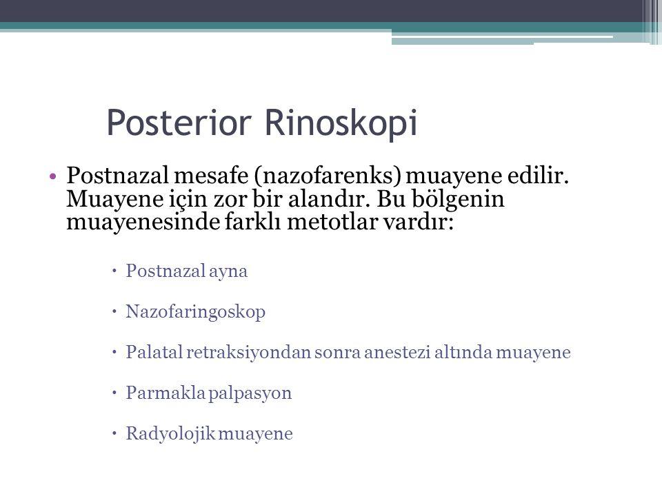 Posterior Rinoskopi Postnazal mesafe (nazofarenks) muayene edilir. Muayene için zor bir alandır. Bu bölgenin muayenesinde farklı metotlar vardır: