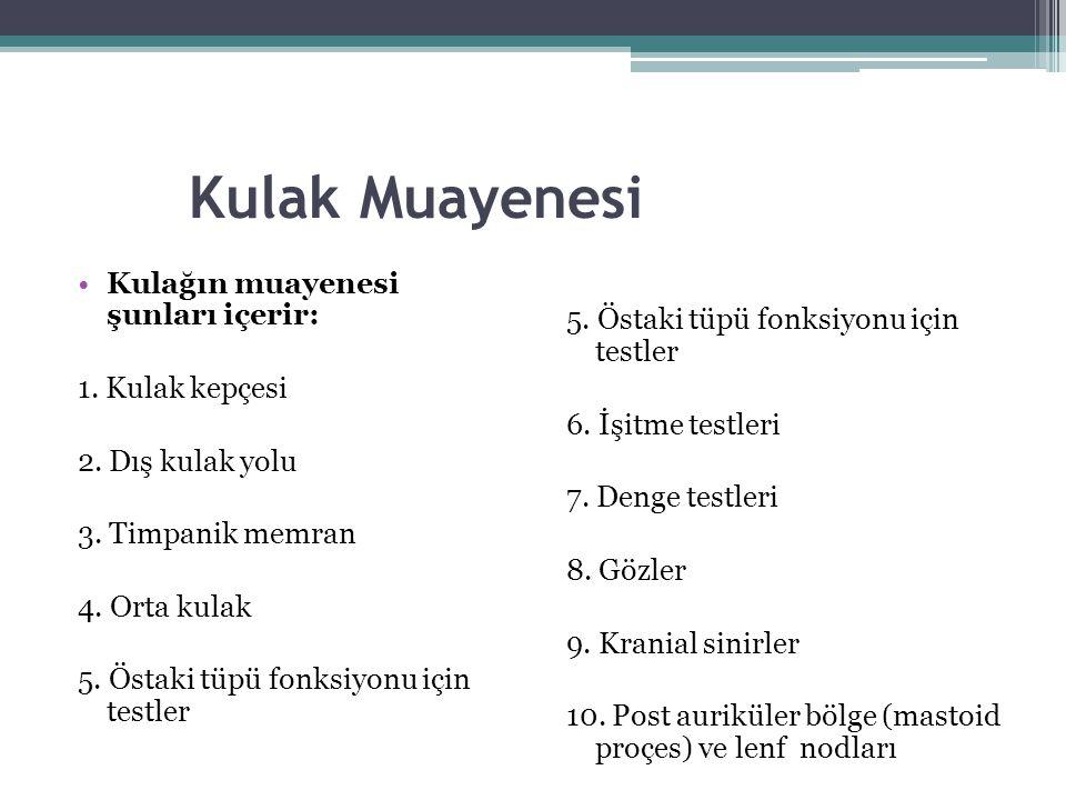 Kulak Muayenesi Kulağın muayenesi şunları içerir: