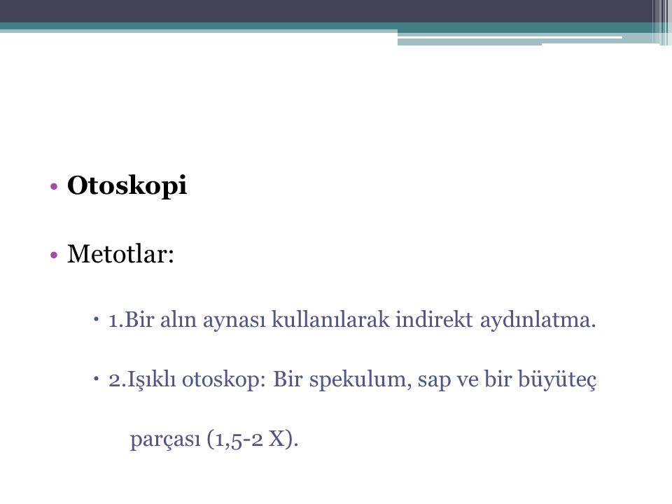 Otoskopi Metotlar: 1.Bir alın aynası kullanılarak indirekt aydınlatma.