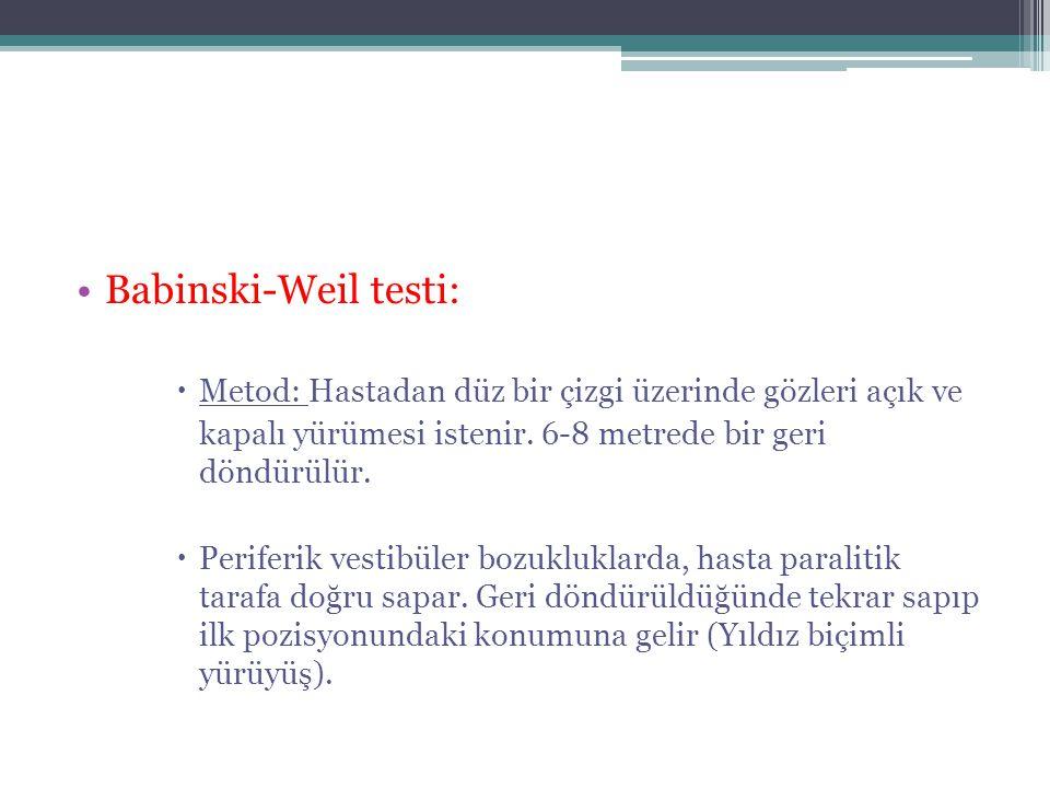 Babinski-Weil testi: Metod: Hastadan düz bir çizgi üzerinde gözleri açık ve. kapalı yürümesi istenir. 6-8 metrede bir geri döndürülür.