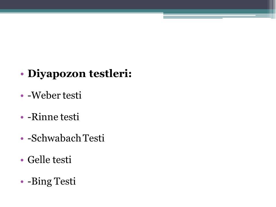 Diyapozon testleri: -Weber testi -Rinne testi -Schwabach Testi