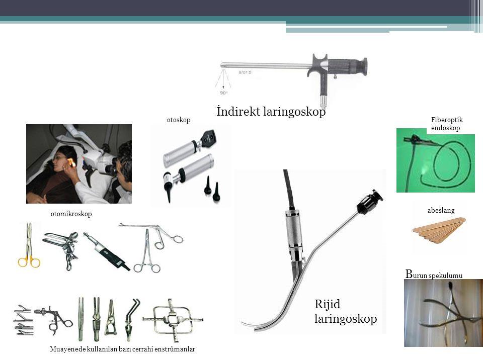 İndirekt laringoskop Burun spekulumu Rijid laringoskop otoskop