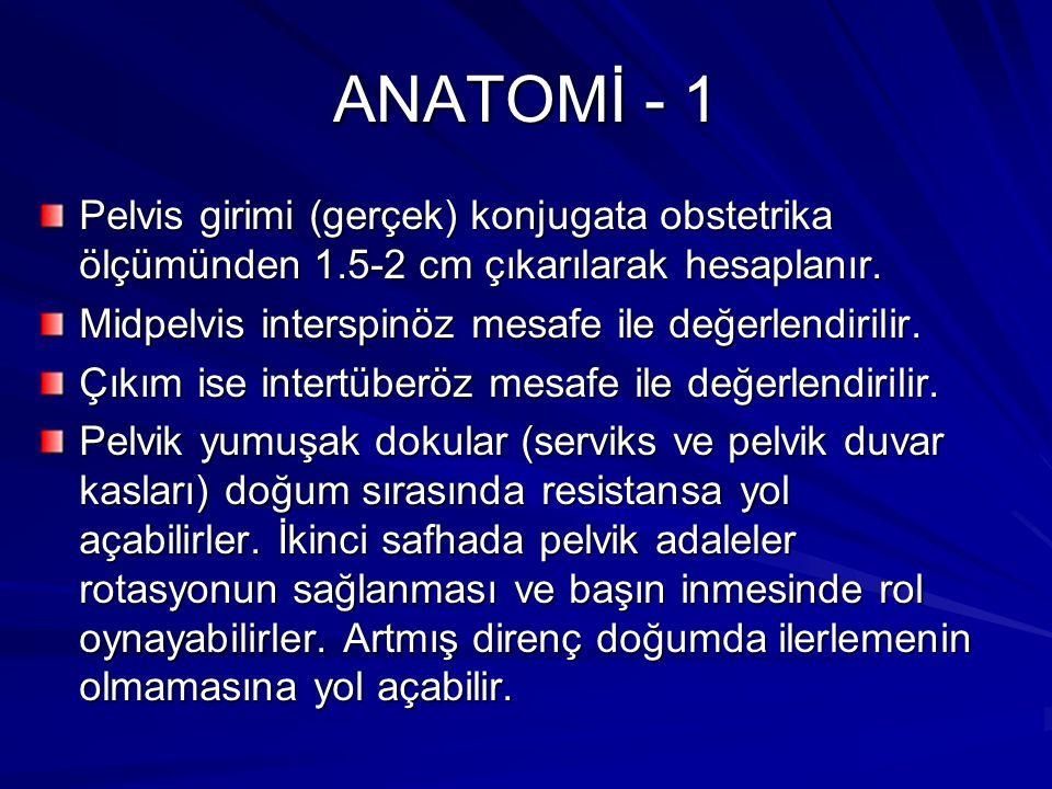 ANATOMİ - 1 Pelvis girimi (gerçek) konjugata obstetrika ölçümünden 1.5-2 cm çıkarılarak hesaplanır.