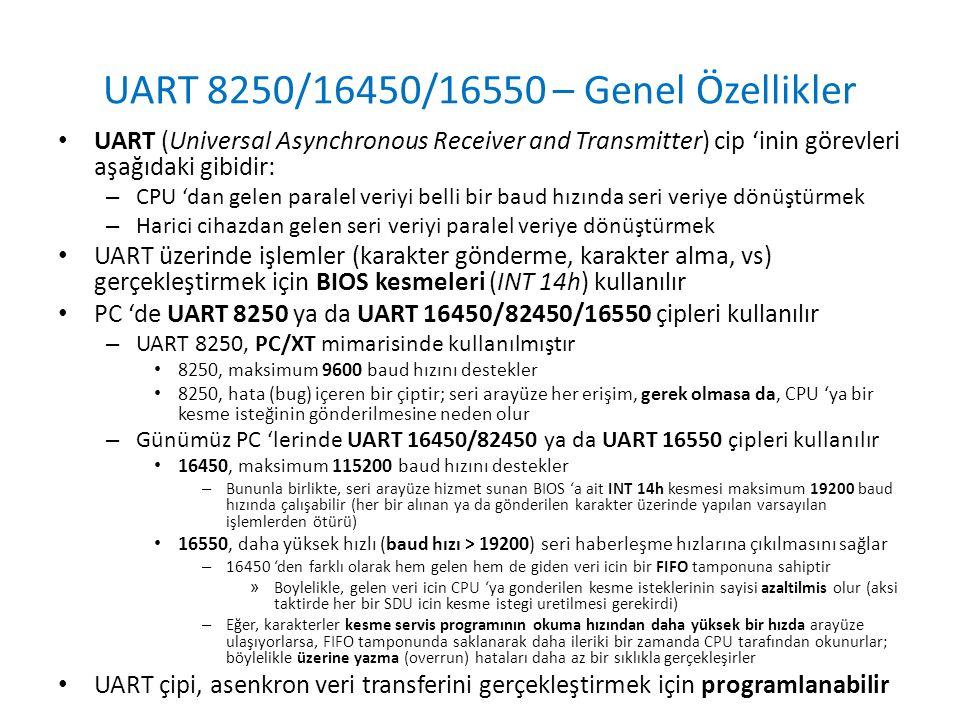 UART 8250/16450/16550 – Genel Özellikler
