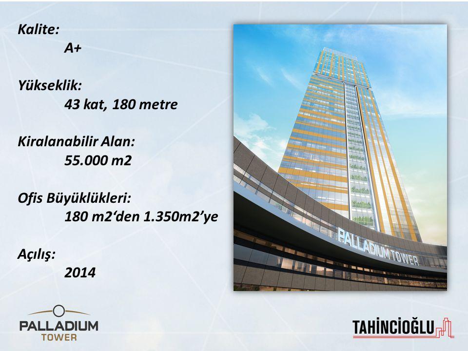 Kalite: A+ Yükseklik: 43 kat, 180 metre. Kiralanabilir Alan: 55.000 m2. Ofis Büyüklükleri: 180 m2'den 1.350m2'ye.