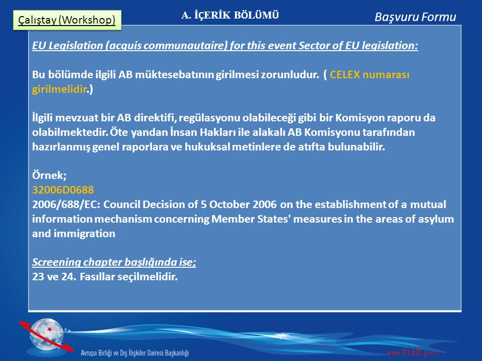 Başvuru Formu Çalıştay (Workshop)