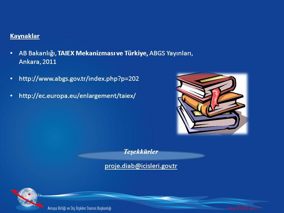 Kaynaklar AB Bakanlığı, TAIEX Mekanizması ve Türkiye, ABGS Yayınları, Ankara, 2011. http://www.abgs.gov.tr/index.php p=202.