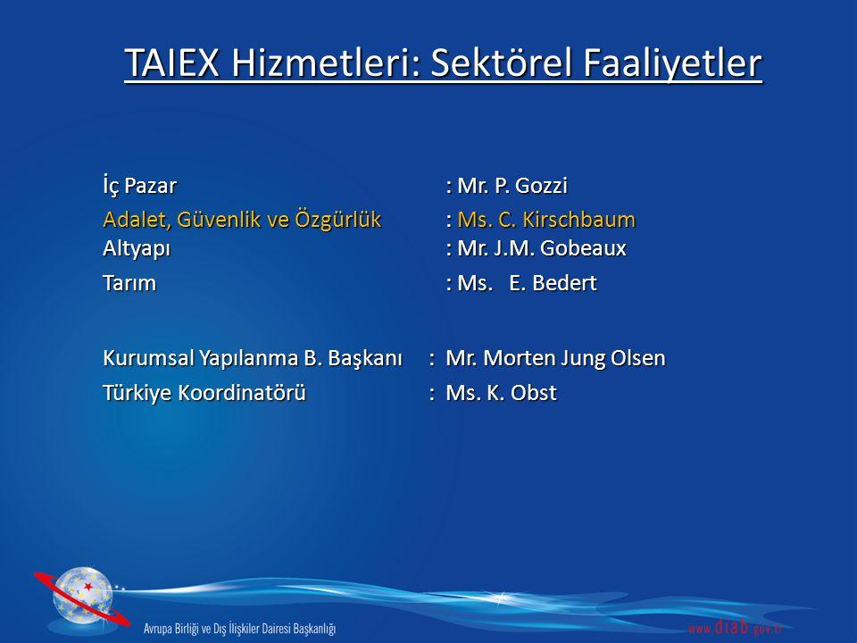 TAIEX Hizmetleri: Sektörel Faaliyetler
