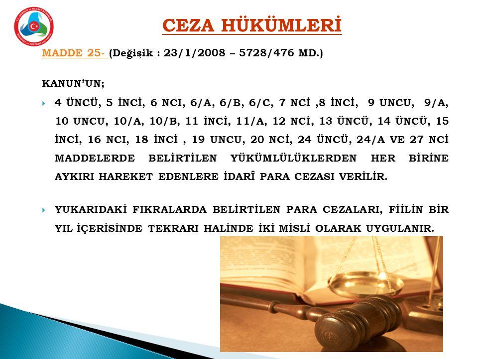 CEZA HÜKÜMLERİ MADDE 25- (Değişik : 23/1/2008 – 5728/476 MD.)