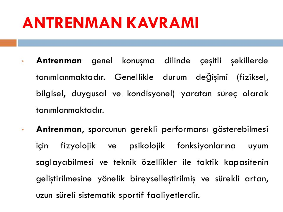 ANTRENMAN KAVRAMI