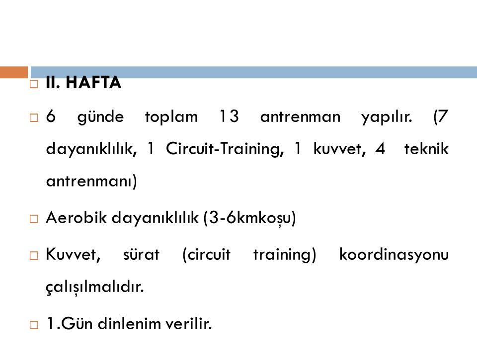 II. HAFTA 6 günde toplam 13 antrenman yapılır. (7 dayanıklılık, 1 Circuit-Training, 1 kuvvet, 4 teknik antrenmanı)