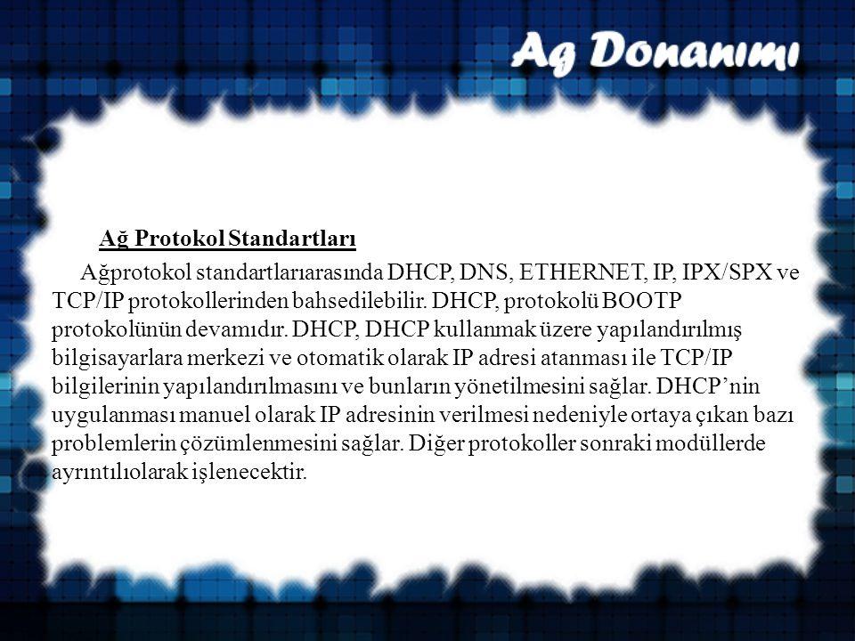 Ağ Protokol Standartları Ağprotokol standartlarıarasında DHCP, DNS, ETHERNET, IP, IPX/SPX ve TCP/IP protokollerinden bahsedilebilir.