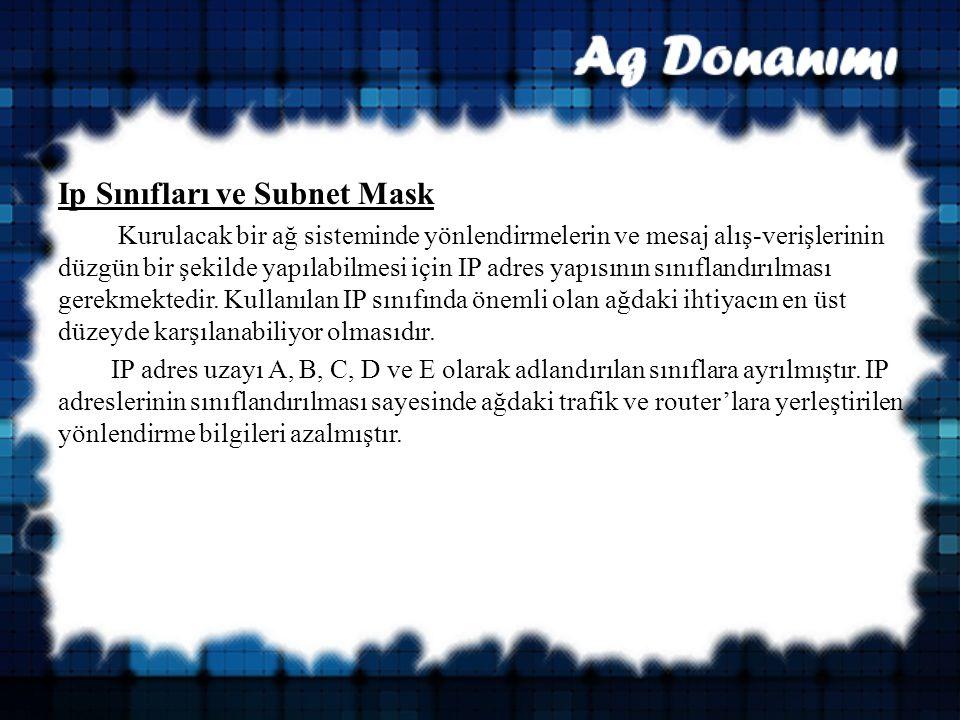 Ip Sınıfları ve Subnet Mask