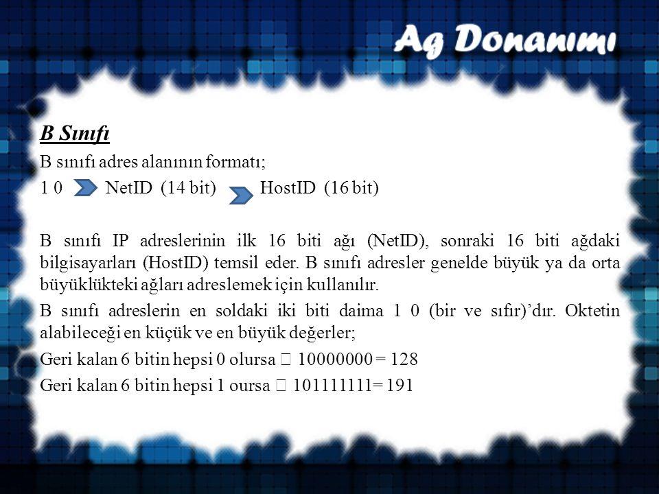 B Sınıfı B sınıfı adres alanının formatı;