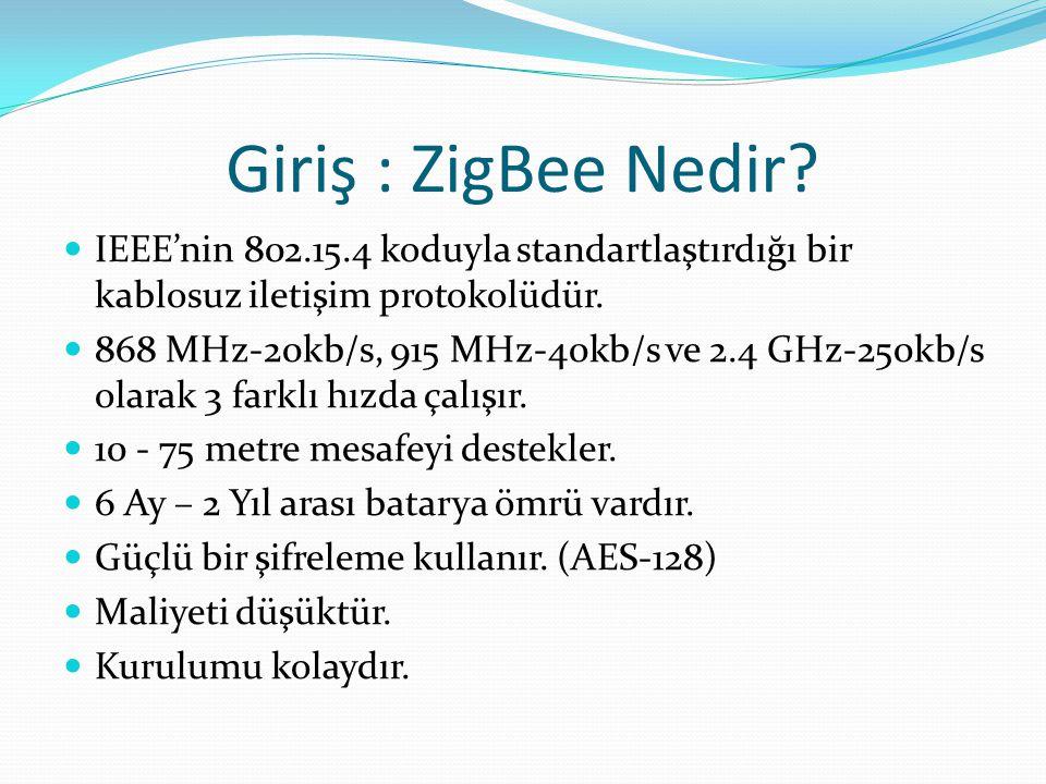 Giriş : ZigBee Nedir IEEE'nin 802.15.4 koduyla standartlaştırdığı bir kablosuz iletişim protokolüdür.