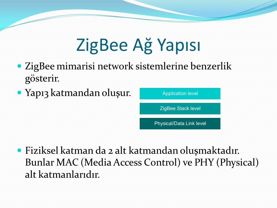 ZigBee Ağ Yapısı ZigBee mimarisi network sistemlerine benzerlik gösterir. Yapı3 katmandan oluşur.