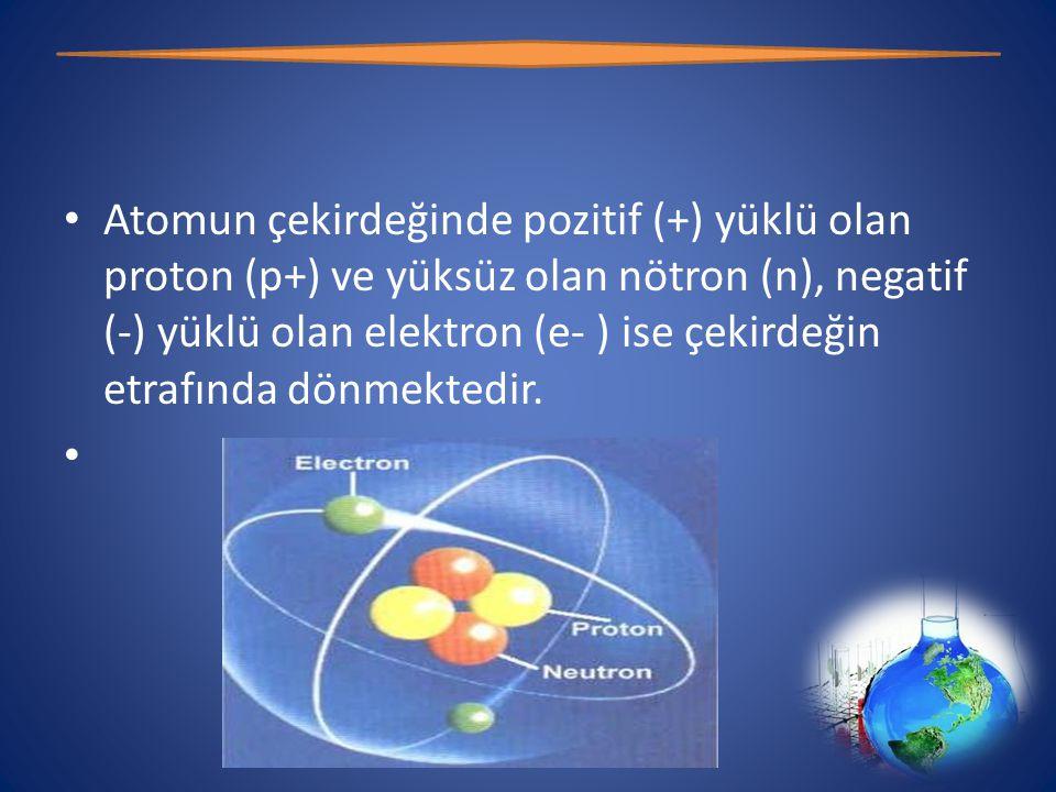 Atomun çekirdeğinde pozitif (+) yüklü olan proton (p+) ve yüksüz olan nötron (n), negatif (-) yüklü olan elektron (e- ) ise çekirdeğin etrafında dönmektedir.