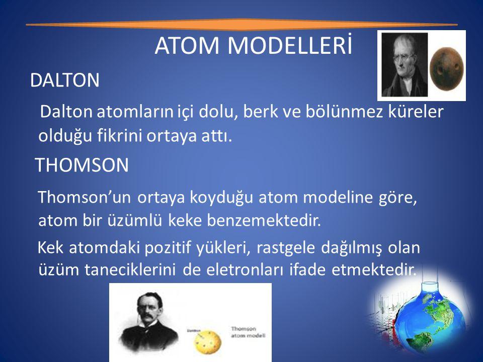 ATOM MODELLERİ DALTON. Dalton atomların içi dolu, berk ve bölünmez küreler olduğu fikrini ortaya attı.