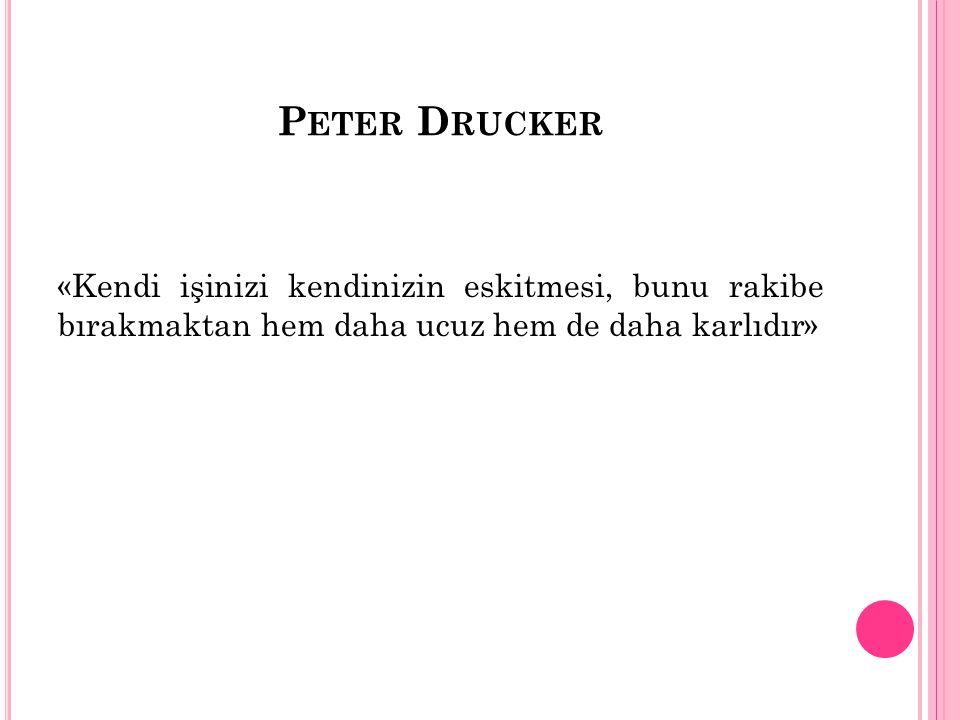 Peter Drucker «Kendi işinizi kendinizin eskitmesi, bunu rakibe bırakmaktan hem daha ucuz hem de daha karlıdır»