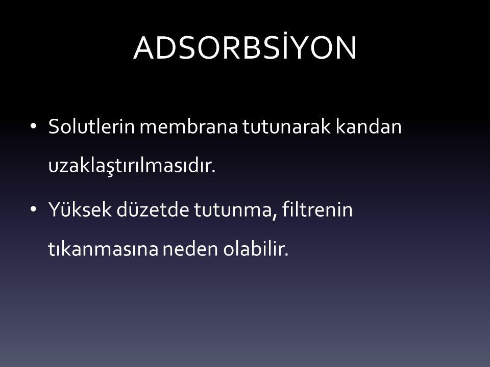 ADSORBSİYON Solutlerin membrana tutunarak kandan uzaklaştırılmasıdır.