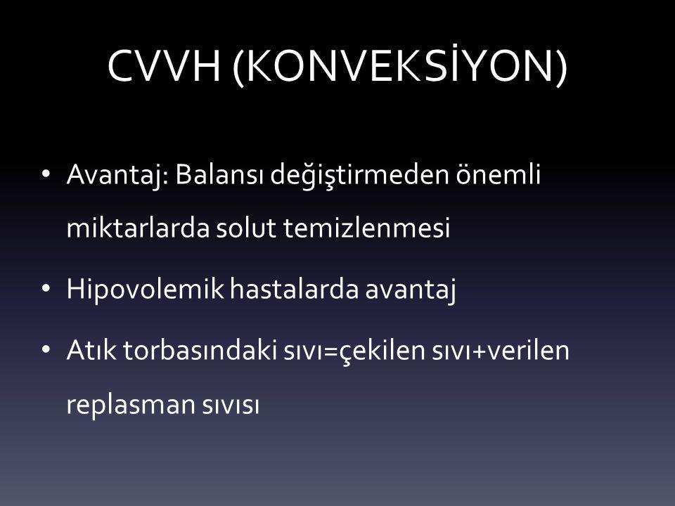 CVVH (KONVEKSİYON) Avantaj: Balansı değiştirmeden önemli miktarlarda solut temizlenmesi. Hipovolemik hastalarda avantaj.