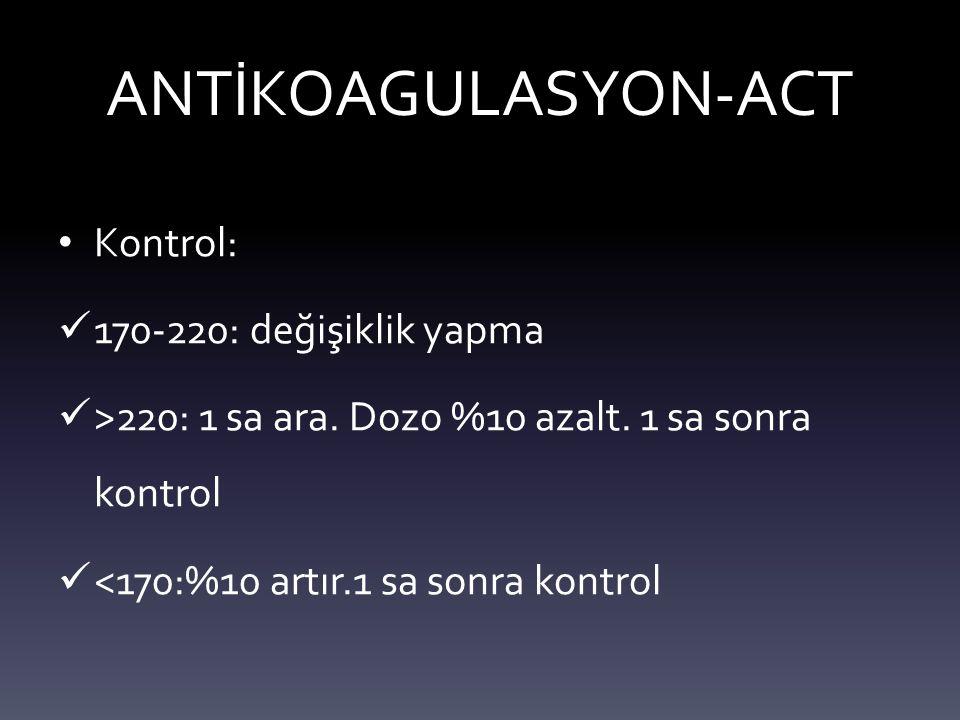 ANTİKOAGULASYON-ACT Kontrol: 170-220: değişiklik yapma