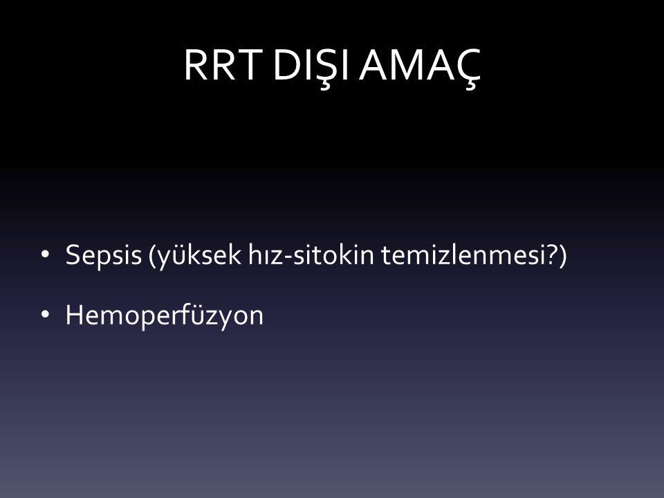 RRT DIŞI AMAÇ Sepsis (yüksek hız-sitokin temizlenmesi ) Hemoperfüzyon