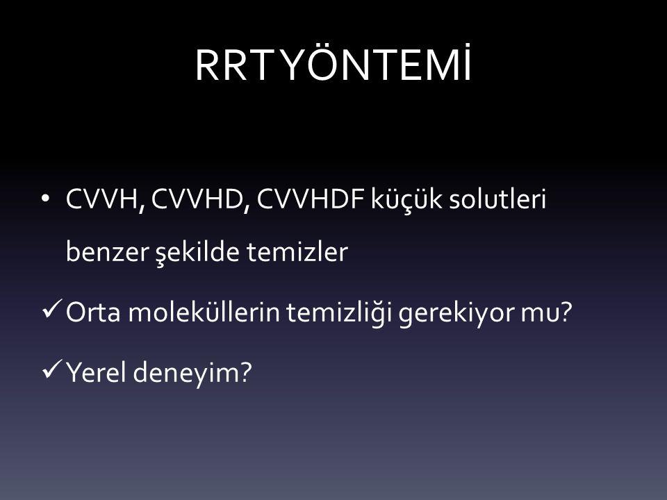 RRT YÖNTEMİ CVVH, CVVHD, CVVHDF küçük solutleri benzer şekilde temizler. Orta moleküllerin temizliği gerekiyor mu